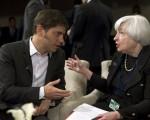 Ministro de economía, Axel Kicillof, junto a Janet Yellen, presidenta de la Reserva Federal estadounidense.